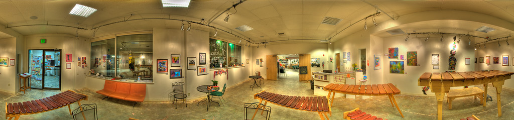 A 5 Exposure HDR Panorama taken in side the Canvas Art Studio in the REACH building of Marimba's, in Juneau Alaska.  Shot with a Nikon d700 on a Nodal Ninja Head, edited in Photoshop CS5 & Photomatix.