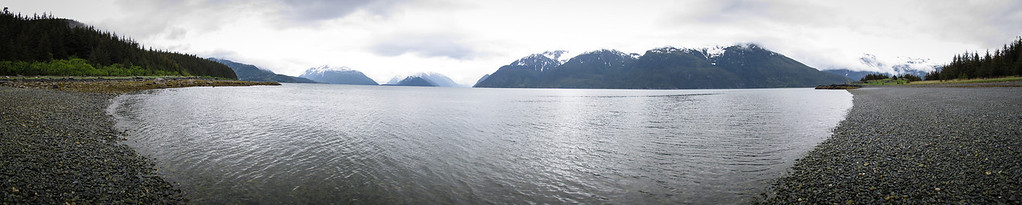 Panorama from the beach at Battery Point near Haines Alaska. Shot with a Canon g12 (in camera panorama mode), edited in Lightroom & Photoshop CS5