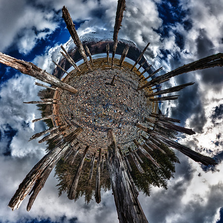 "A 3 Exposure HDR ""little planet"" oriented Panorama taken on Douglas Island Alaska Near Juneau Alaska of dock remnants from the Treadwell Gold Mine Operation which halted operations after a mining accident. Shot with a Nikon d700 on a Nodal Ninja Head, edited in PT GUI, Photoshop CS5 & Photomatix."