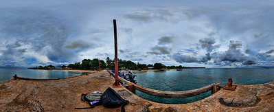 Taken from the end of the Pier on Little Corn Island off the Nicaraguan Coast.  Taken with a Sony Alpha a300 on a Nodal Ninja Head, edited in PT GUI & Photoshop CS5.