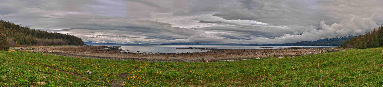 A 3 Exposure HDR Panorama taken by Blue Mussell Beach near Juneau Alaska.  Shot with a Nikon d700 on a Nodal Ninja Head, edited in PT GUI, Photoshop CS5 & Nik HDR EFX Pro.