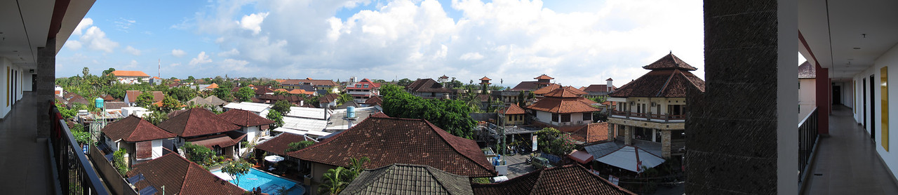 Panorama from hotel balcony in Denpasar Bali, Indonesia near Kuta Beach looking North.  Shot with a Canon g12 (in camera panorama mode), edited in Lightroom & Photoshop CS5.