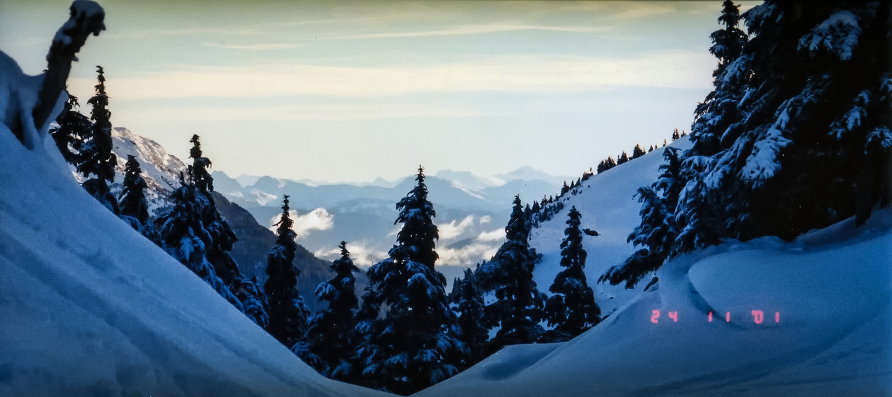 Panorama shot at Eaglecrest Ski Area near Juneau Alaska.  Shot with an Olympus P&S (time stamped) & scanned with an Epson V300, edited in Lightroom & Photoshop CS5.